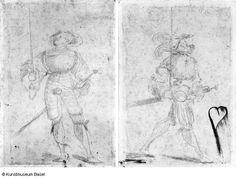 Artist: Graf, Urs, Title: Bannerträger von vorne, nach oben schauend, Date: ca. 1520-1521