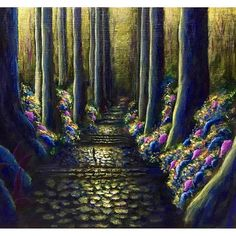 【godo_terasawa】さんのInstagramをピンしています。 《こないだの個展での新作たち④ title :  KODOU#4 (於 熊野古道、大門坂) size:F3 (220×273mm) Acrylic on canvas, 2017  #terasawart #寺澤晋吾展 #熊野の幻風景 #絵 #絵画 #美術 #アクリル #創作 #アート #アクリル画  #森 #森林 #樹 #forest #tree #acrylic #painting #colors #yellow  #fineart #artwork #ancient #熊野古道 #kumano #kumanokodo #熊野 #大門坂》