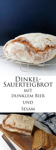 Dinkel-Sauerteigbrot mit dunklem Bier und Sesam -