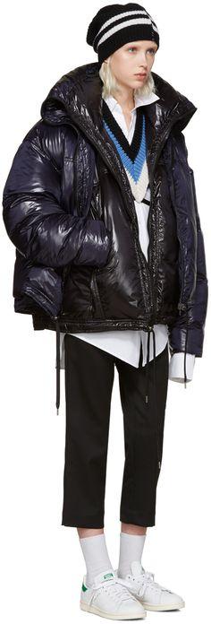 Raf Simons: Black & Navy Reversible Down Jacket | SSENSE