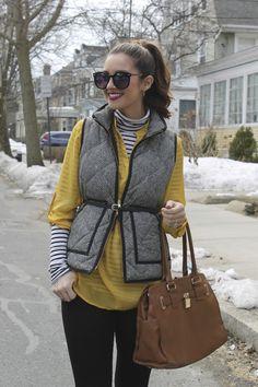 Over-the-Weekend: Mustard, Black & White striped turtleneck & Herringbone Vest