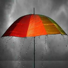 color splash--orange, red umbrella