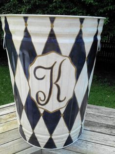 30 Gallon Monogram Can  Hand Painted by krystasinthepointe on Etsy