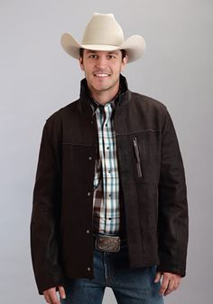 Men's Stetson® soft lamb suede leather jacket in beautiful Chocolate Brown with smooth leather accents.  #stetson #mens #western #westernclothes #westernbootsales #mensfashion #westernfashion #mensclothes #pungoridge #virginia #virginiabeach