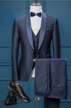New Vintage Inspired Classic Navy Blue 3 Piece Slim Fit Tuxedo With Vest