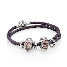 pandora purple doubleleather bracelet - Google Search