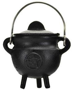 Pentagram Cast Iron Cauldron with Lid 2.75inch