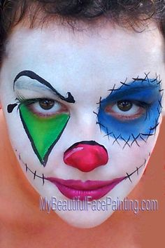Scary, Creepy Clown face paint for Halloween party or event.  White background is Starblend White powder.  Colors in design are Tag. Details in DFX black and white.