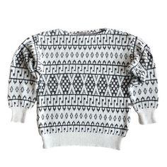 Vintage white sweater with black pattern, ribbed cuffs and bottom. Black White Pattern, White Patterns, Black And White, Vintage Clothing, Vintage Outfits, White Sweaters, Vintage Black, Vintage Shops, Cuffs
