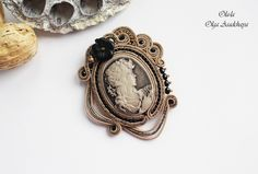 "brooch cameo ""Black Bronze"" Acrylic cameo soutache, glass beads, Japanese beads, glass flower"