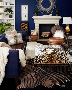 home accessories table John-Richard Collection Macayla Coffee Table Ottoman Style At Home, Estilo Hollywood Regency, Animal Print Decor, Animal Print Bedroom, Animal Print Furniture, Ottoman Table, Plywood Furniture, My New Room, Home Fashion