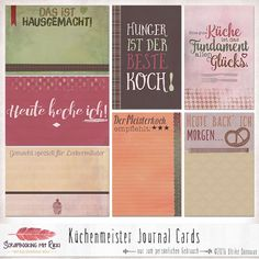 Digitale Downloads - Küchenmeister 4x6 Journaling Karten - ein Designerstück von Rikki_Donovan bei DaWanda Journal Cards, Junk Journal, Bullet Journal, Project Life, Free Prints, Smash Book, Planner Stickers, Bujo, Hand Lettering