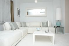 Interior Designs. Don't Be Upsetting Because Your All White Living Room Would Never Plain: Contemporary Living Room With All White Interior Design With Accen Grey Cushions And Blue Lamp ~ Neohl living room color schemes, #living room ideas