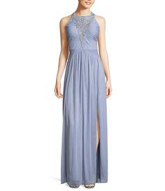 e34930a495e0 Adrianna Papell Beaded Yoke Front Slit Dress