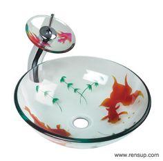... Vessel-Sinks/Vessel-Sinks-Glass-Koi-Fish-Painted-Vessel-Faucet-Tall