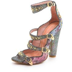 Cynthia Rowley Brocade Triple Strap Heels ($164) ❤ liked on Polyvore featuring shoes, pumps, heels, lavender brocade, studded shoes, lavender shoes, high heel pumps, heel pump and metallic shoes