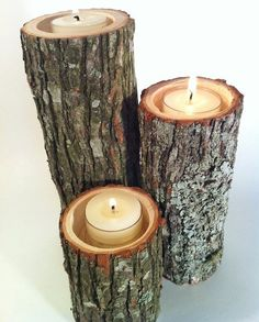 DIY rustic tree branch candle holders    Tells you how to make them yourself, and also shares a link to an Etsy site that has them if you'd rather buy!    Here's what you need:    Reclaimed branches or stumps cut to the size you like (A chain saw would be handy here but not required. A chop saw, reciprocating saw, or even a hand saw would work to