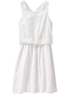 Girls Textured-Dot Dresses
