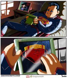 Eduardo Lucas Nascimento, known as Dragonarte, is a Brazilian comic artist. He draws Marvel and DC Comics universe in his own style Dc Comics Funny, Dc Comics Art, Fun Comics, Marvel Dc Comics, Arte Do Superman, Superman Artwork, Superman Comic, Superman Suit, Marvel Jokes