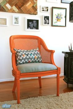 Orange with pillow. Better After: National Day of Chair