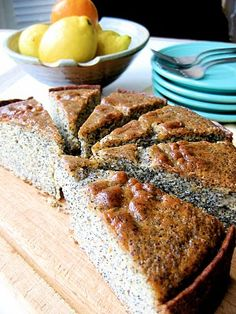 Tangerine-glazed poppy seed brunch cake I never thought to bake a quick bread this way...but it makes so much sense! ~ diva