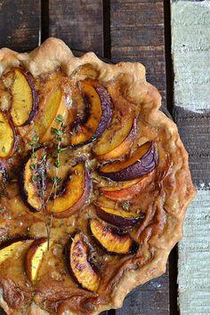 Bakeaholic Mama: Peach and Thyme Custard Pie Fruit Recipes, Summer Recipes, Sweet Recipes, Dessert Recipes, Cooking Recipes, Snacks Recipes, Pie Recipes, Fall Recipes, Gourmet
