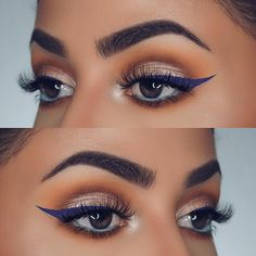 purple winged liner, turquoise waterline @dianamaria_mua | #eye makeup w/ shimmery lid, warm crease