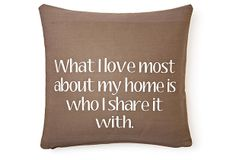 Home 20x20 Cotton Pillow, Brown on OneKingsLane.com This pillow is for Jim.  Love ya.
