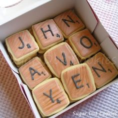 scrabble tile cookies. this could be a really cute way to ask someone to a dance or something. make a bunch of letter cookies and they have to put them together to solve what it says:) this website has perfect ways to ask people to prom look you wont regret it