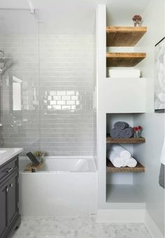 Bathroom Tile Ideas - These designer bathrooms use tile, on floors, walls, and backsplashes to stylish effect. #bathroom #tile #ideas
