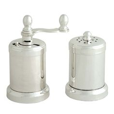 A salt shaker and pepper grinder in silver-plated brass for timeless style and performance. The pepper grinder can be used with dry black, green or white. Pepper Grinder, Silver Plate, Plating, Brass, Steel, Canning, Palace Garden, Colors, Pink