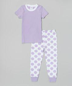 Love this Lavender & White Polka Dot Pajama Set - Infant, Toddler & Girls by Sew Childish on #zulily! #zulilyfinds