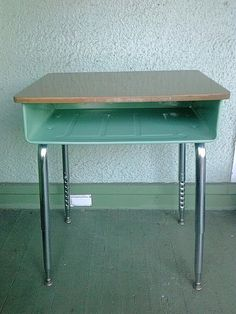 School Days Vintage Desk Restored Refinished Children's Furniture Jade Green Metal  Desk Mid Century Modern Iconic Crafts Room Industrial