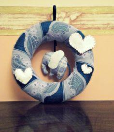 Handmade Birth Announcement Wreath with blue elephant and hearts  https://www.etsy.com/it/listing/169560260/ghirlanda-artigianale-decorativa-corona?ref=shop_home_active_3&langid_override=0