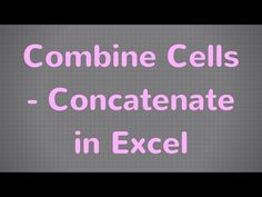Learn how to combine cells in Excel using the CONCATENATE Excel function (CONCAT in some versions). In this short Excel video tutorial, we create a sentence by combining a few cells from our spreadsheet. Great for business use - marketing and other fields. Microsoft Excel for beginners