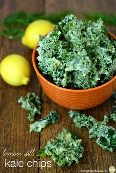 Lemon Dill Kale Chips...made with clean ingredients and they're raw, vegan, gluten-free, dairy-free and paleo-friendly. Enjoy!