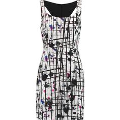 Milly Splatter printed crepe dress (7.472.150 VND) ❤ liked on Polyvore featuring dresses, black, slim fit dress, slimming dresses, multi colored dress, multi color dress and colorful dresses