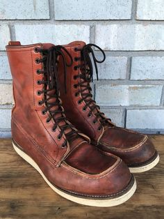 Vtg Red Wing Irish Setter 877 Crepe Leather Moc Toe Chore Boots Men's Sz 12 B #RedWing #WorkSafety