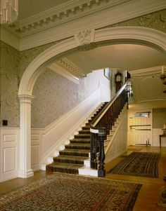 The entry hall of the Governor John Langdon House. The wide central hallway, which runs the length of the house, is an example of traditional Georgian design.