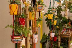 Jardim suspenso - Tem apenas um cantinho livre em casa pra montar seu jardim? Inspire-se na proposta da engenheira agrônoma e paisagista Cintia Rua para o Espaço Beleza Natural: pendure vasos de orquídeas e helicônias em um pequeno pergolado de bambu com o auxílio de cordas. Fica lindo! | O ambiente pode ser visto na mostra de paisgismo da Expoflora até 27 de setembro de 2015 em Holambra (SP). Outras informações: www.expoflora.com.br Fabiano de Bruim/ Divulgação