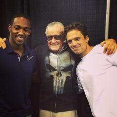 Anthony Mackie, Stan Lee and Sebastian Stan