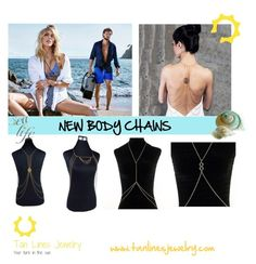 """New Body Chain, Beachwear Jewelry, Tan Lines Jewelry"" by freida-adams ❤ liked on Polyvore"