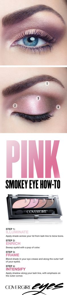 Try this step-by-step tutorial for a pretty pink smokey eye, featuring COVERGIRL Eyeshadow Quads in Blooming Blushes. The COVERGIRL Eyeshadow Quads palette makes it easy, with numbered steps to help you get the gorgeous looks you want. Perfect for any occasion when you'd like to try something other than a standard black smokey eye.
