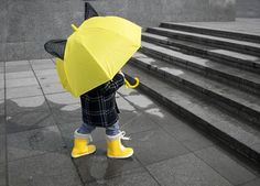 ☔️ : Shutterstock via Color Splash Photo, Under My Umbrella, Cute Baby Pictures, Yellow Shoes, Precious Children, Mellow Yellow, Color Themes, Fall Halloween, Black And White Photography