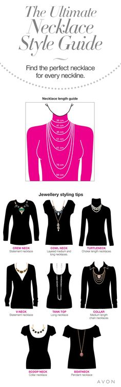 The indispensable necklace styling guide! Find out how to accessorize any neckli. Necklace Length Guide, Necklace Guide, Mode Style, Style Me, Look Fashion, Womens Fashion, Fashion Tips, Looks Cool, Mode Inspiration
