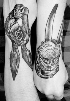 alice in wonderland tattoos the marchhare and the walrus from Peter Aurisch