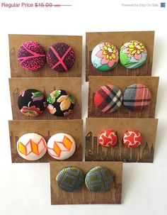 30% OFF SALE Fabric Button Earrings / 7 Pairs / by ManhattanHippy