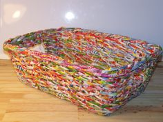 """Recycled Paper Magazine Tote (SKU 12-152) Size: 15"""" x 11"""" x 5"""" Colors vary on each basket"""