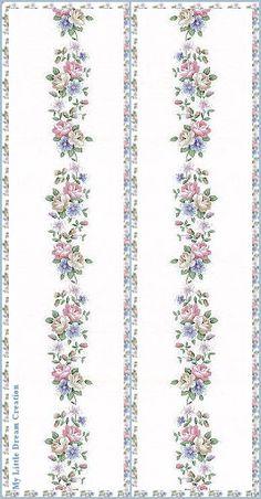 Decoupage Vintage, Decoupage Paper, Pattern Art, Pattern Paper, Floral Logo, Floral Prints, Doll House Wallpaper, Line Flower, How To Make Bookmarks