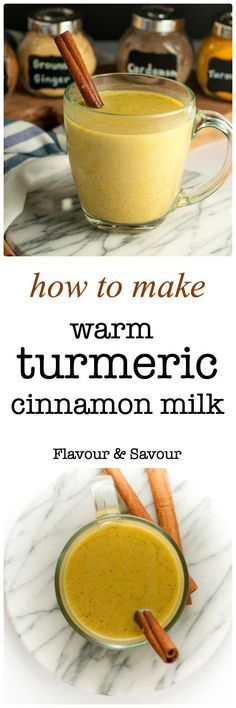 Easy instructions for how to make Warm Turmeric Cinnamon Milk, a healthy anti-inflammatory, anti-oxidant drink that may also help you sleep!  www.flavourandsavour.com